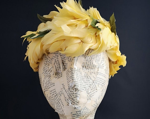 Vintage Feather hat, 50's striking canary yellow pillbox hat, leaves