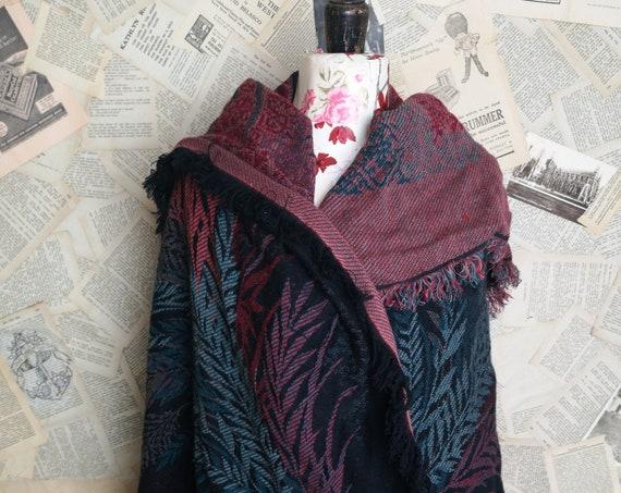 Vintage 20's Eastern shawl, large wool shawl