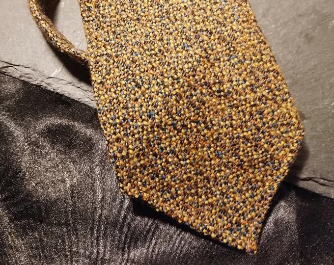Vintage gents necktie, pure wool, yellow marl, 1940's necktie, Hope Bros