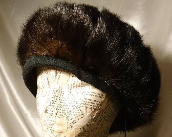 Vintage mink hat, 1950's satin lined fur pom pom hat, with label