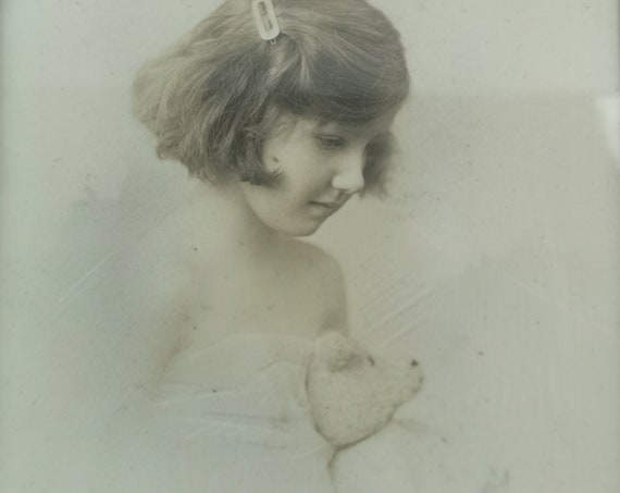 Vintage 20's sepia photograph, child and Teddy bear, framed and glazed