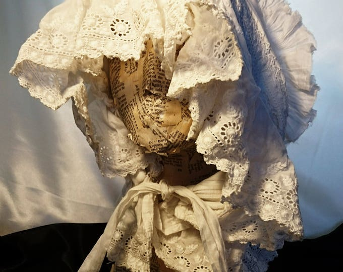 An antique bonnet, victorian whitework, broderie anglaise bonnet, adult size