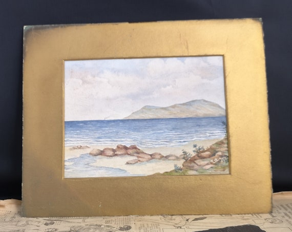 Antique watercolour painting, beach scene, signed and dated, antique fine art