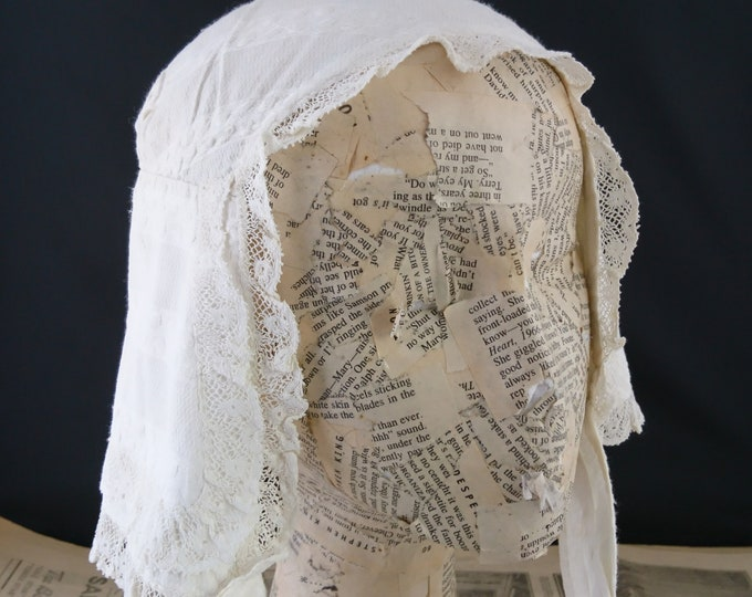 Antique regency bonnet, whitework, lace trim