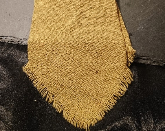 Vintage gents necktie, wool, rough edge, mustard yellow 1940's necktie