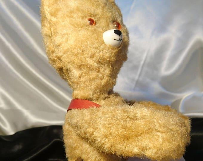 Vintage 40's Russian clockwork bear, vintage drummer teddy bear, toys