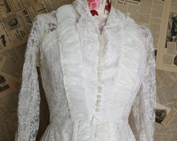 Vintage French wedding dress, lace and chiffon, wedding gown