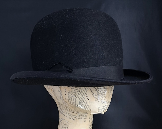 Vintage black gents bowler hat, 30s Moore and Sons, Derby hat