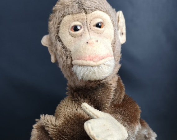 Vintage Steiff Chimpanzee puppet, early Steiff, ear tag, chimp puppet, 1920's