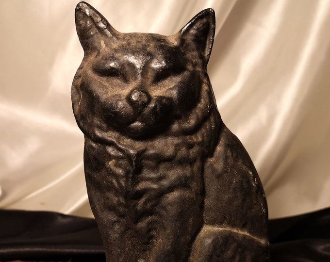 Antique cast iron cat doorstop, Victorian rustic Black cat doorstop
