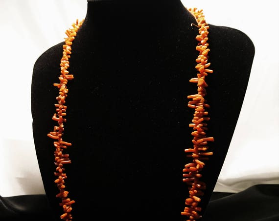Antique coral necklace, long Victorian branch coral necklace