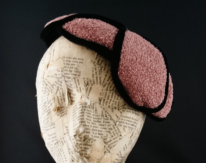 1940's fascinator hat, vintage whimsy hat, coral pink and black, boucle hat
