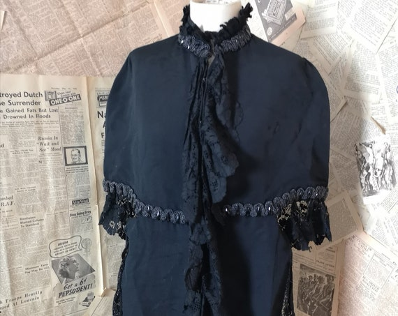 Antique Victorian mourning Cape, Bombazine, lace and cut steel