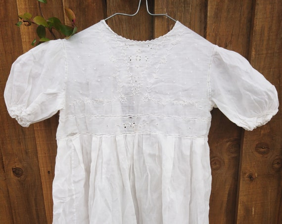 Antique English baby dress, fine batiste cotton, broderie anglaise, puff ball sleeve, mother of pearl buttons