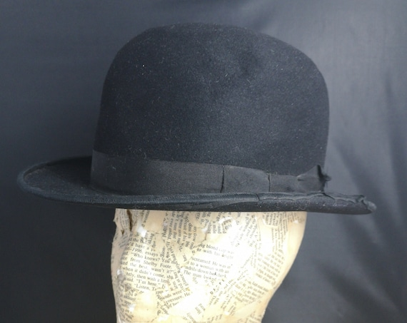 Vintage black gents bowler hat, Terriss, Derby hat