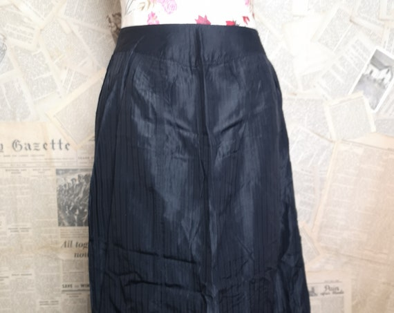 Antique hostess apron, long length black Victorian housekeeping apron