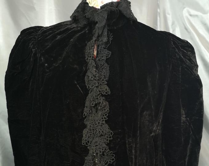 Victorian velvet mourning Cape, black velvet, silk lined, antique Cape, crochet and bow