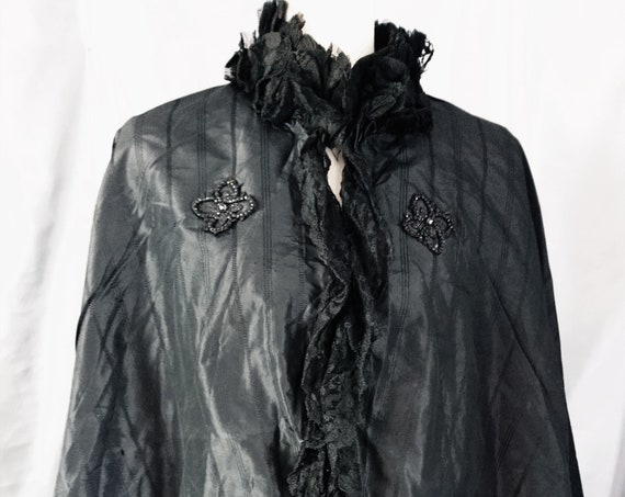Victorian mourning Cape, silk, lace, taffeta, antique cape, jet beads, a eforget me not