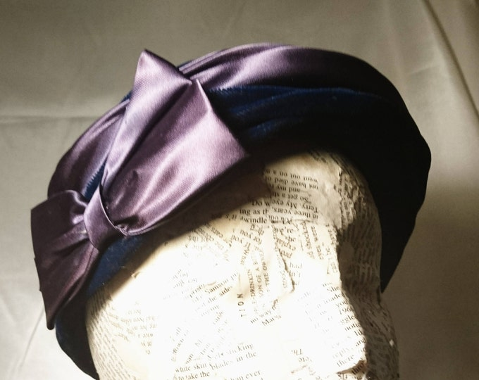 1940's velvet and satin dress hat, large bow, ladies vintage hats