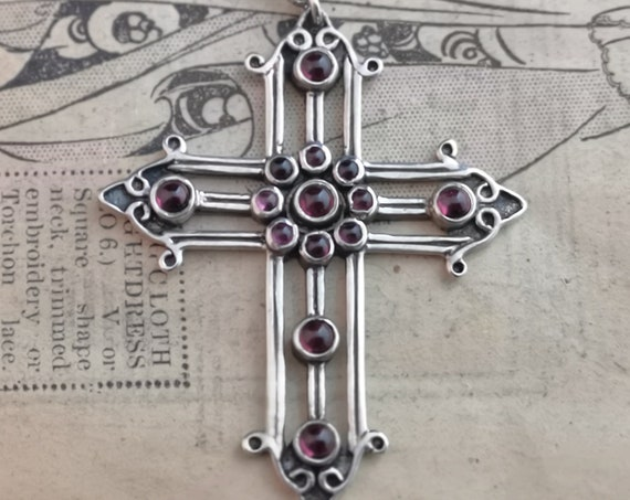 Antique silver cross pendant, sterling silver, Ruby paste, Art Nouveau crucifix necklace