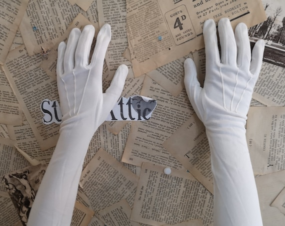 Vintage opera gloves, long ivory satin gloves