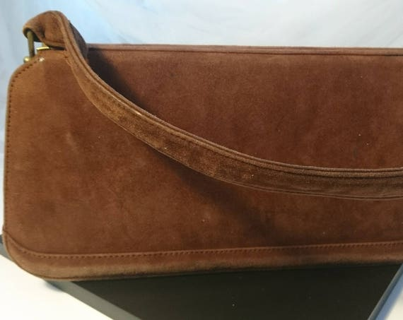 Vintage 40's suede handbag, 1940's top handle bag
