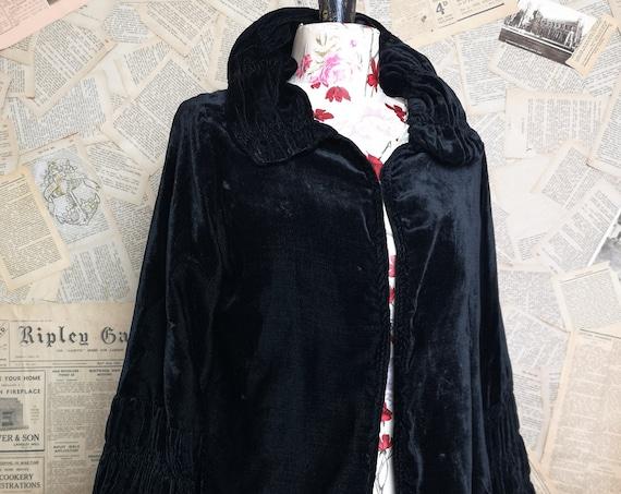 Vintage 20's Black silk velvet jacket, ruched