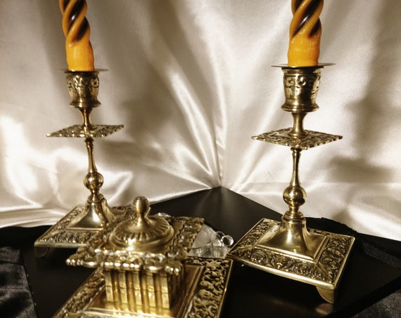 Victorian gilt brass travelling desk set, candlesticks and ink well, original case and candles