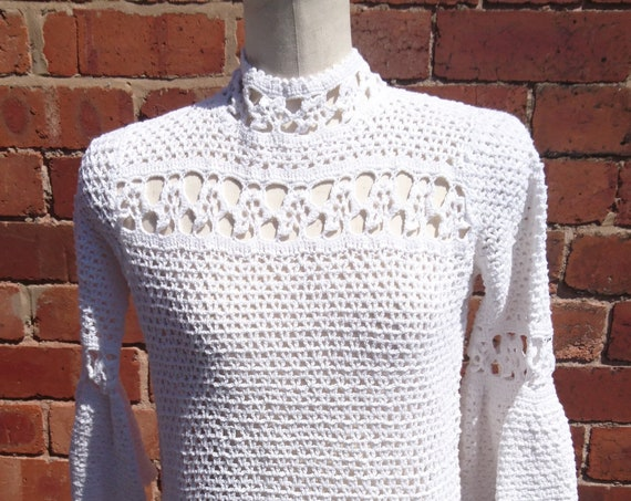 Vintage 30's crochet top, peplum, embroidered top, Bell sleeved