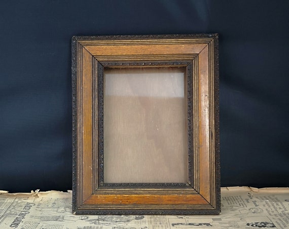 Antique picture frame, oak and gesso, Victorian photo frame