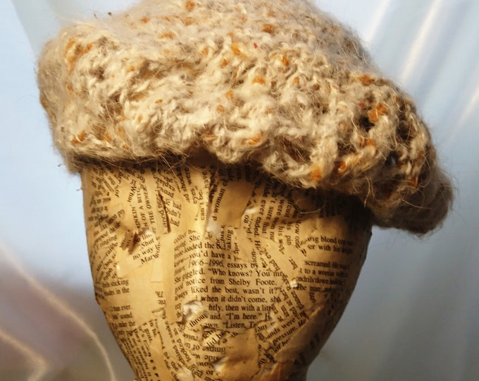 Vintage 40's beret hat, handwoven, chunky knit, mohair and wall, 1940's ladies hats