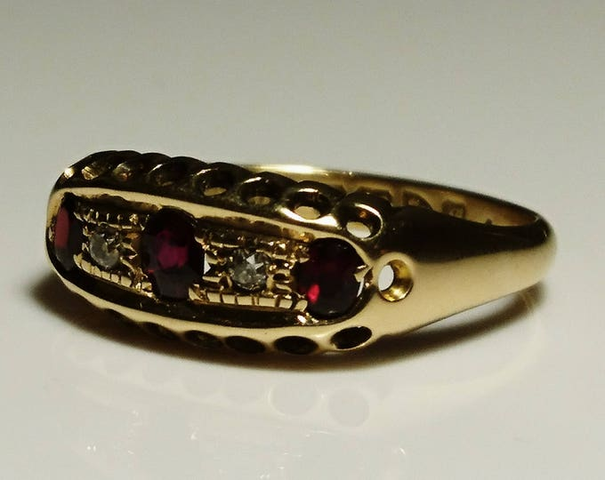 Antique garnet and diamond ring, 18ct gold, fully hallmarked, antique gold rings, heavy