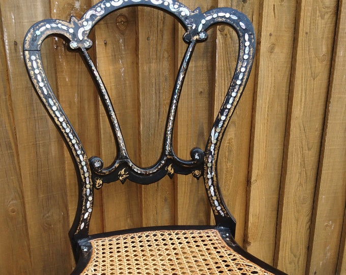 Victorian bedroom chair, mother of pearl inlay, gilt accents, antique chair, canework seat