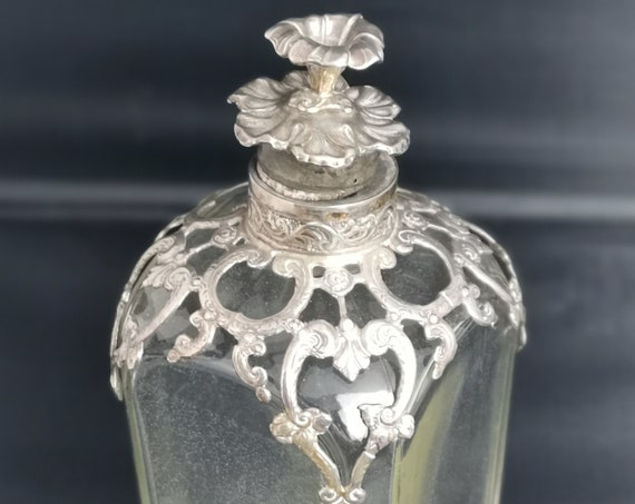 Antique Victorian silver mounted pressed glass decanter