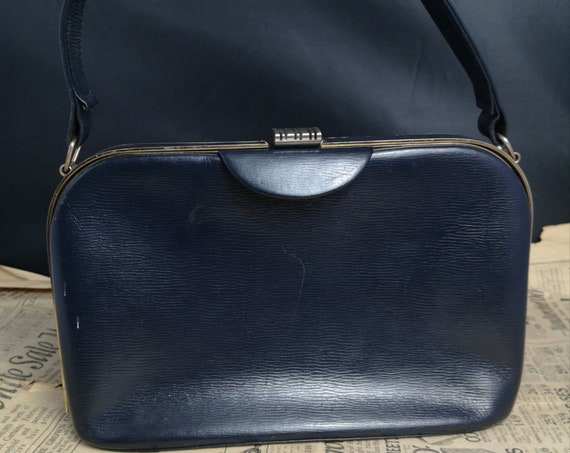 Vintage 50's handbag, blue leather top handle bag
