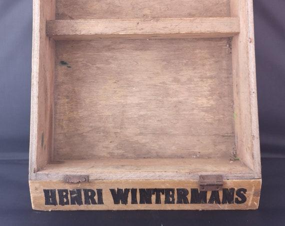 Vintage Henri Wintermans cigar display case, tobacciana advertising, rustic Wooden box