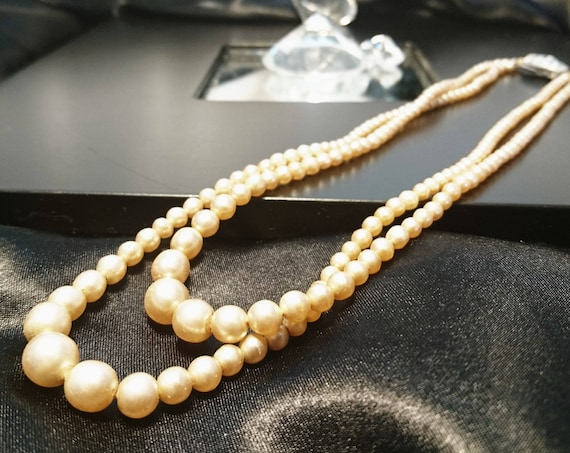 Vintage faux pearl necklace, 1950's double strand faux pearls