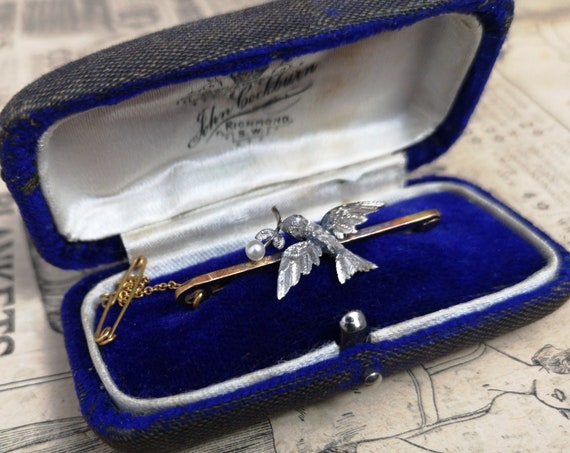 Antique peace dove brooch, Victorian 15ct gold and pearl bird brooch, boxed