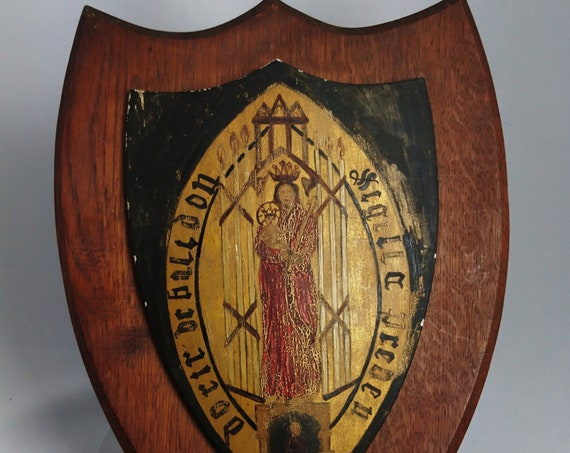 Antique heraldic shield, religious, Mary Consoler of the afflicted, hand carved and painted