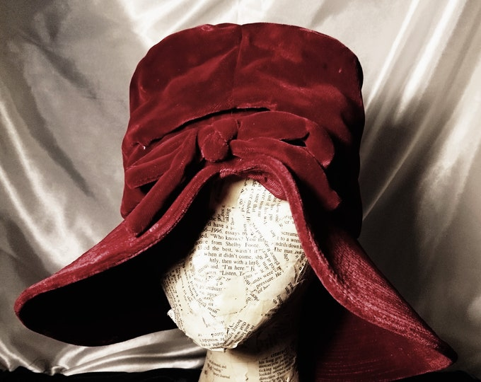 Vintage 40's velvet hat, wine red floppy hat, wide brim
