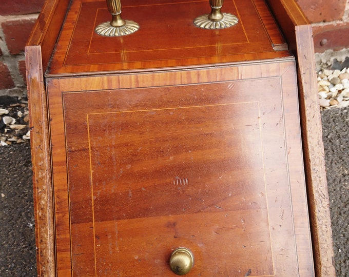 Antique coal scuttle, coal bin, Edwardian, inlaid mahogany and brass, antique fireplace tools