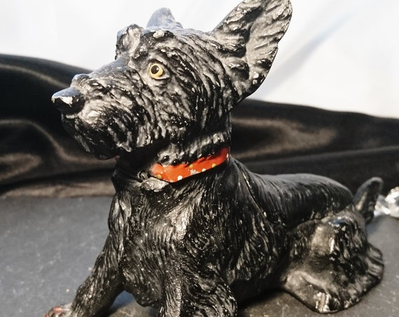 Antique terrier inkwell, cold painted spelter, Scottish Terrier, dog inkwell and pen rest