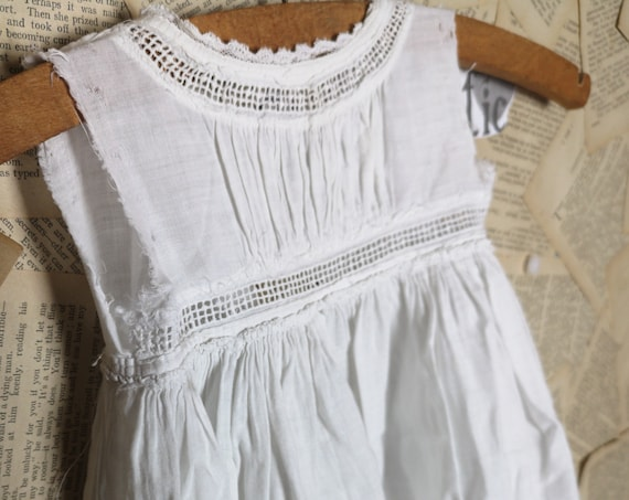 Antique English baby dress, fine cotton, broderie anglaise, doll clothes