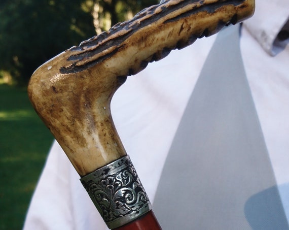 Victorian riding crop, silver collared, deer antler handle, antique horse riding crop, Equestrian