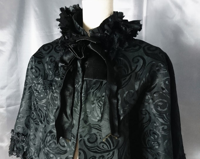 Victorian mourning Capelet, black burnout silk, lace, antique Mantelet, mourning capelet, jet beading