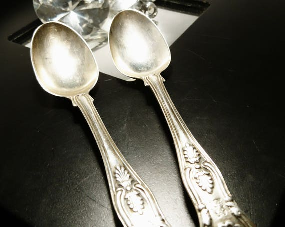 Antique sterling silver teaspoons, pair of antique Kings pattern teaspoons, fully hallmarked, Georgian and Victorian, Mary Chawner