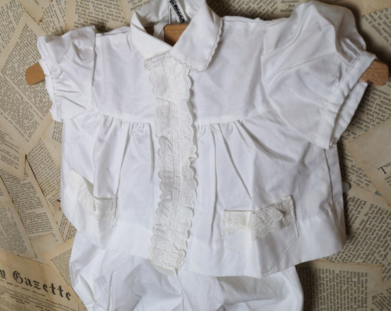 Vintage French baby suit, romper, shirt / blouse and bloomers, Boussac