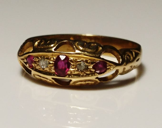 Beautiful antique 18ct gold / 18kt gold Ruby and diamond boat ring, Victorian estate gold ring
