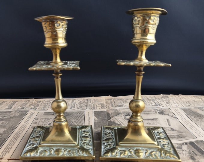 Antique brass candlesticks, Victorian home decor, candle holders, rustic, comedy and tragedy
