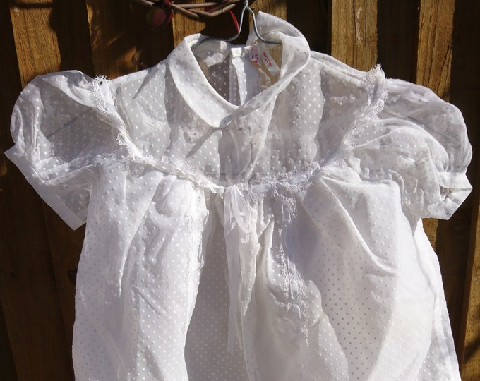 Vintage French baby dress, sheer layers, 1950's, full and frilly baby girl dress, white